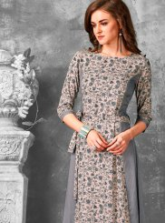 Print Rayon Grey Party Wear Kurti