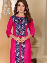 Print Rayon Hot Pink Party Wear Kurti