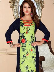 Print Rayon Multi Colour Party Wear Kurti
