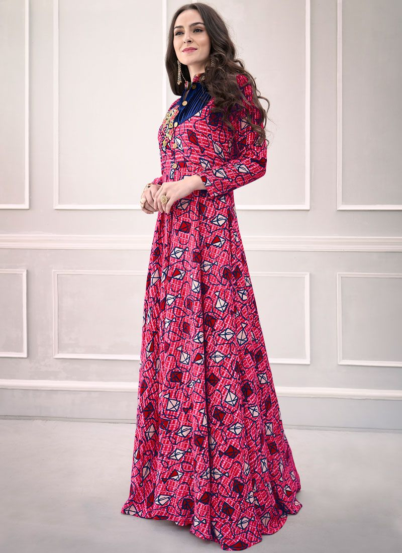 Print Rayon Multi Colour Readymade Gown