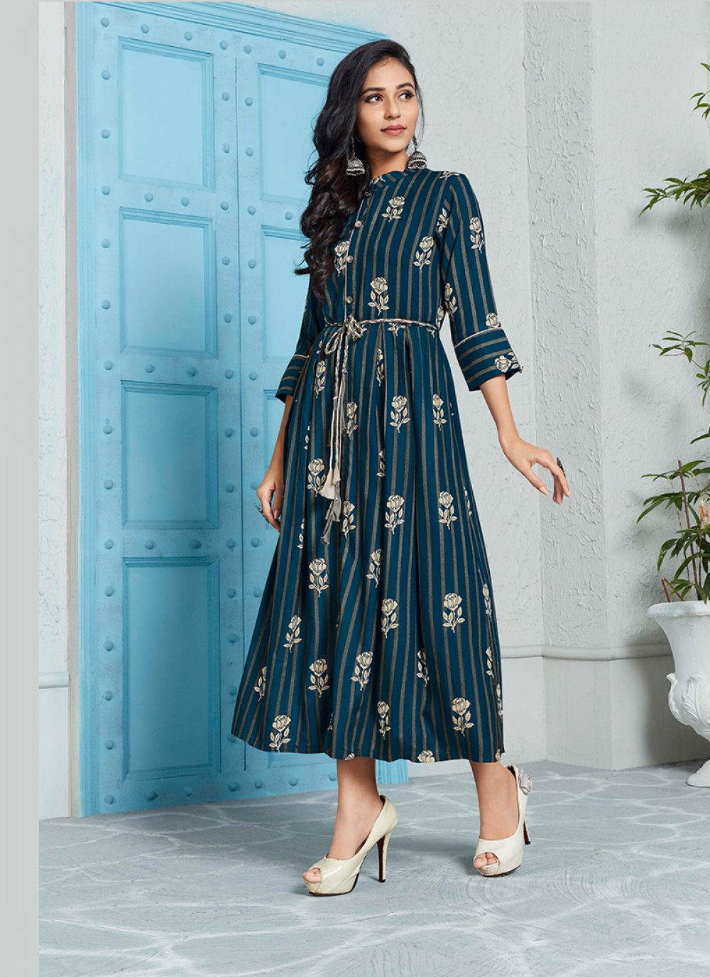 Print Rayon Party Wear Kurti