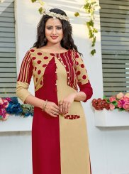 Print Rayon Party Wear Kurti in Beige and Maroon