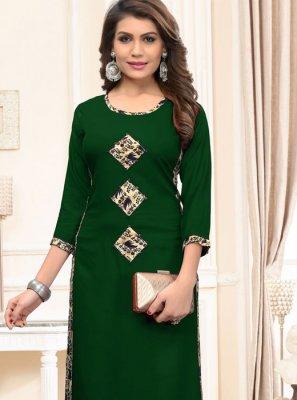 Print Rayon Party Wear Kurti in Green