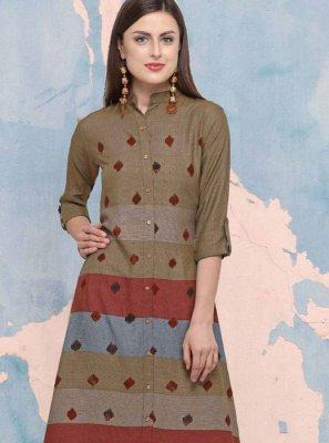 Print Rayon Party Wear Kurti in Multi Colour