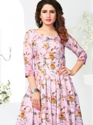 Print Rayon Party Wear Kurti in Pink