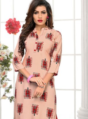 Print Rayon Peach Party Wear Kurti
