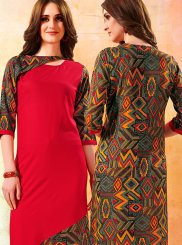 Print Rayon Red Party Wear Kurti