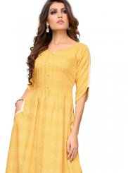 Print Rayon Yellow Party Wear Kurti