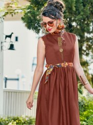 Print Satin Brown Readymade Gown