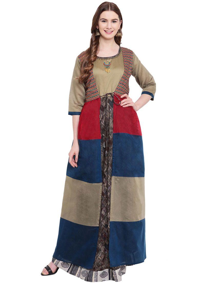 Print Silk Multi Colour Designer Gown