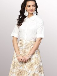 Print White Party Wear Kurti