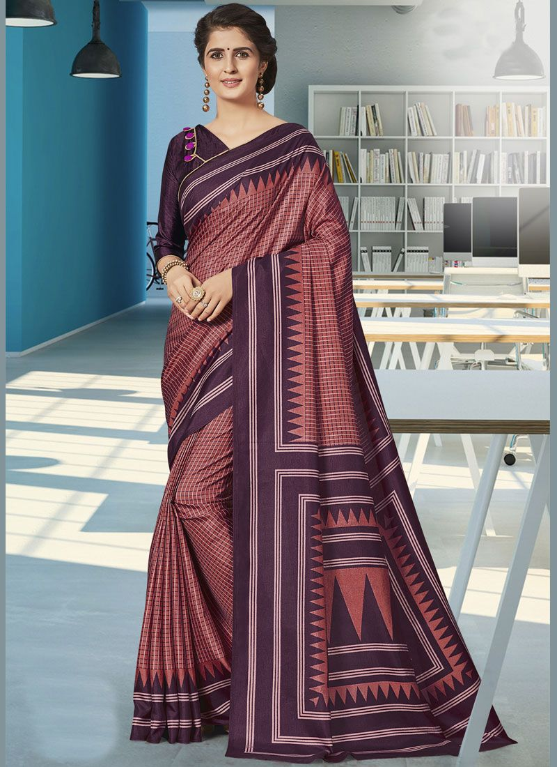 Print Wine Art Silk Traditional Saree