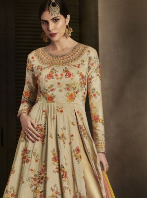 Print Work Art Silk Floor Length Anarkali Suit