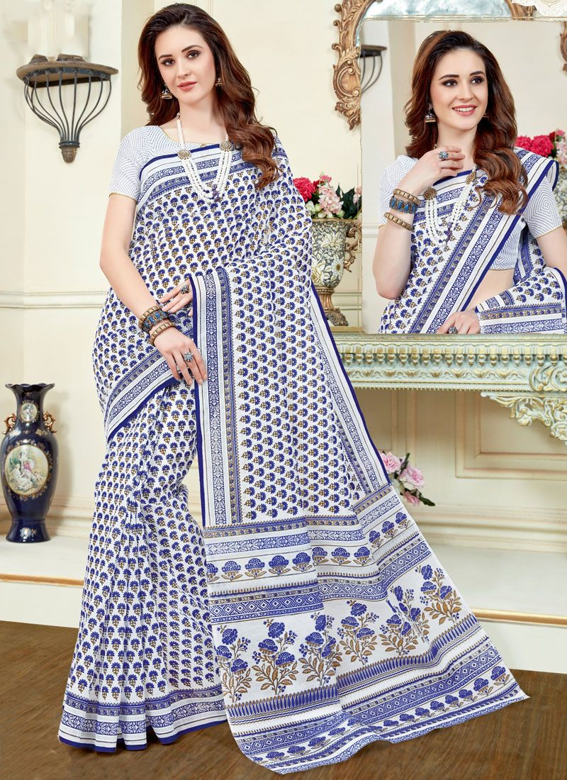 Print Work Cotton   Casual Saree