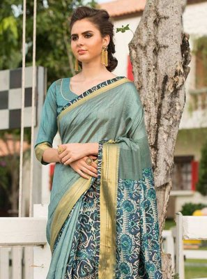 Print Work Blue Traditional  Saree