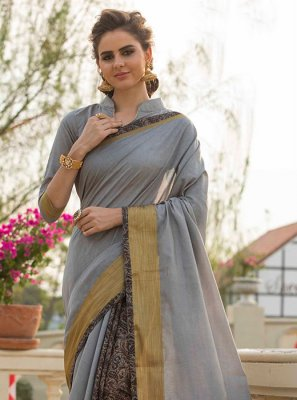 Print Work Grey Traditional  Saree