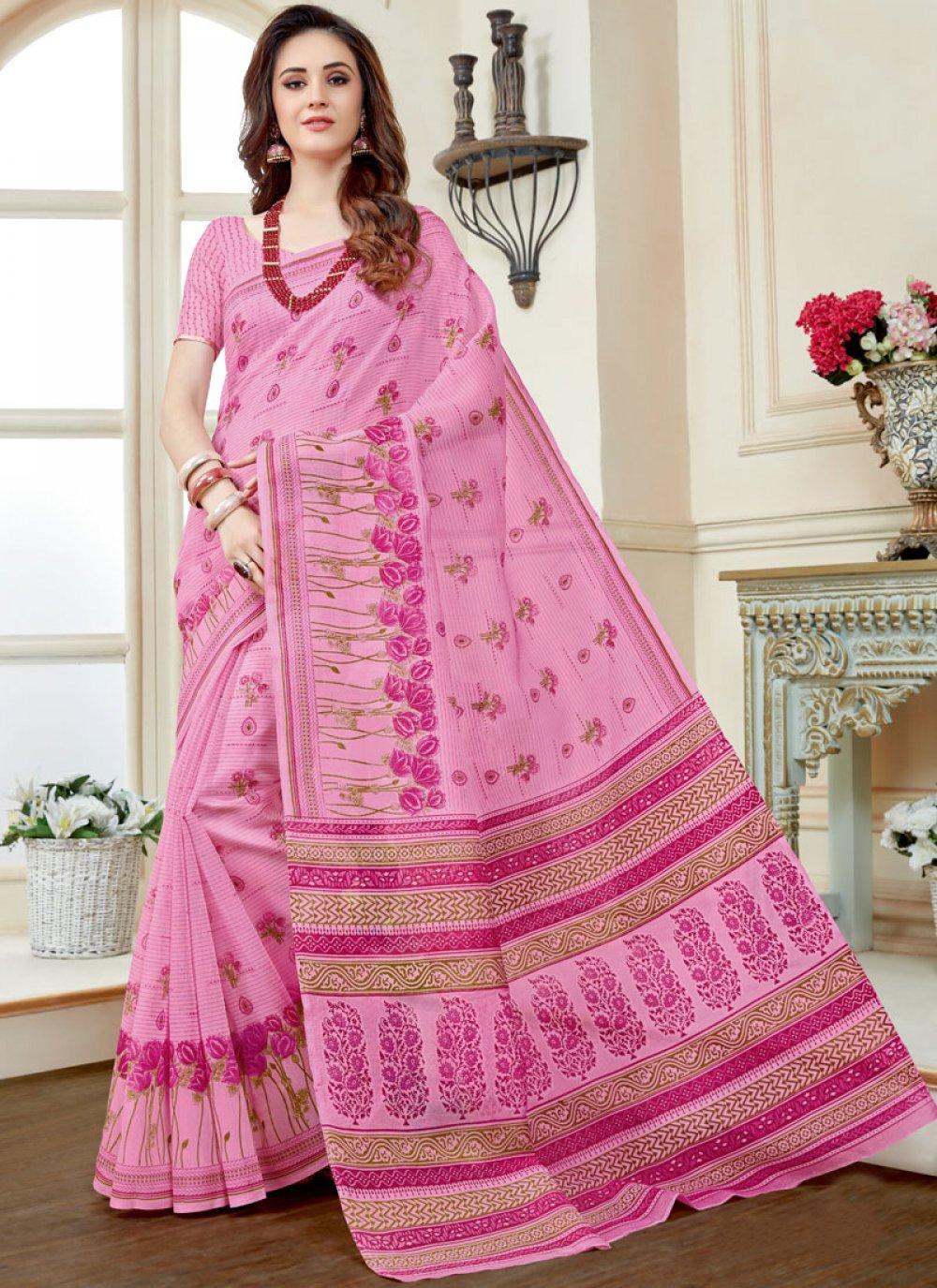 Print Work Pink Casual Saree