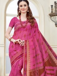 Print Work Pink Cotton   Casual Saree