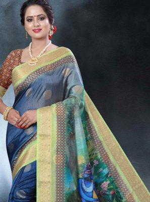 Printed Art Banarasi Silk Classic Designer Saree