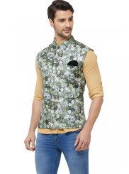 Printed Art Silk Nehru Jackets in Green