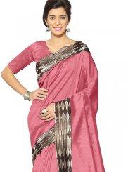 Printed Art Silk Pink Casual Saree