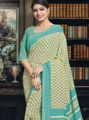 Printed Beige Polly Cotton Casual Saree