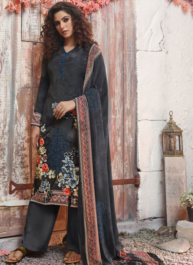 Printed Black and Grey Pant Style Suit