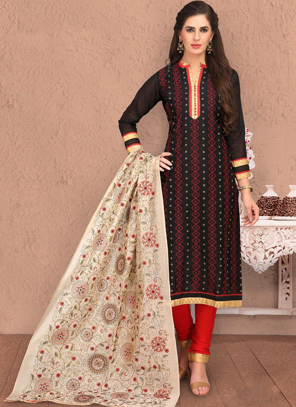 Printed Black Chanderi Salwar Suit
