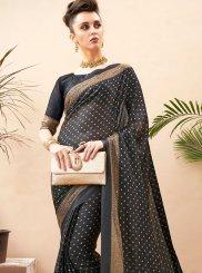 Printed Black Classic Designer Saree