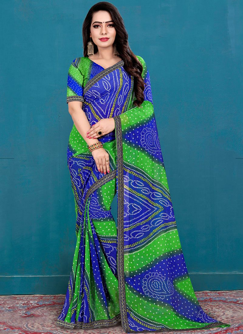 Printed Blue and Green Faux Georgette Casual Saree