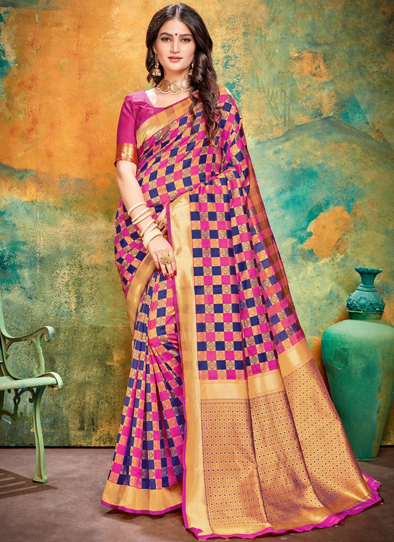Printed Blue and Pink Art Banarasi Silk Printed Saree