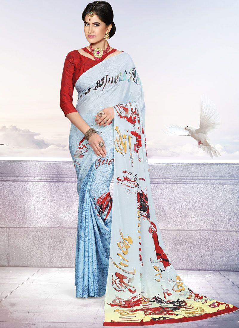 Printed Blue Crepe Silk Trendy Saree