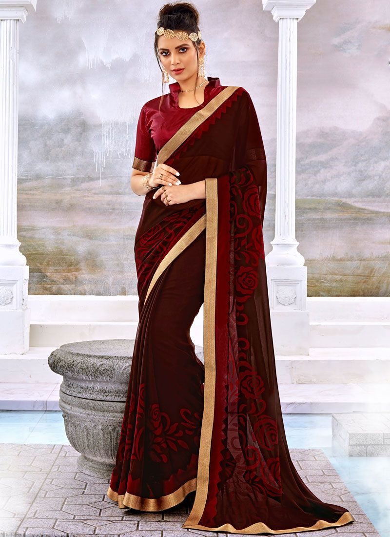 Printed Brasso Trendy Saree in Brown