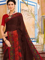 Printed Brown and Maroon Georgette Casual Saree