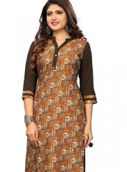 Printed Brown and Mustard Casual Kurti