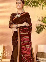 Printed Brown Classic Saree