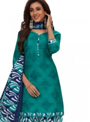 Printed Cotton Blue and Green Patiala Salwar Suit