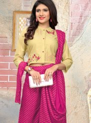 Printed Cotton Cream and Pink Casual Kurti