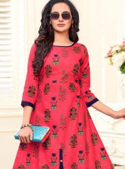 Printed Cotton Hot Pink Casual Kurti