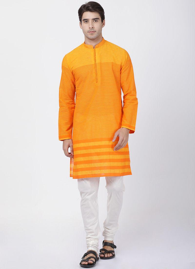 Printed Cotton Kurta Pyjama in Orange