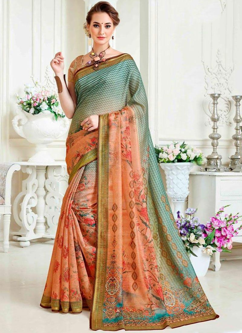 Printed Cotton Multi Colour Casual Saree