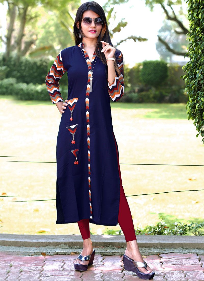 Printed Cotton Navy Blue Party Wear Kurti