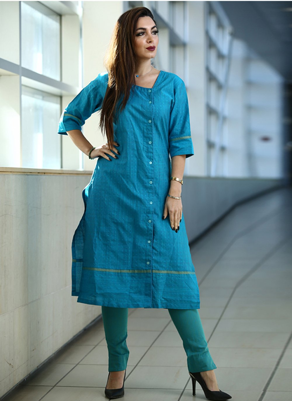Printed Cotton Party Wear Kurti in Blue