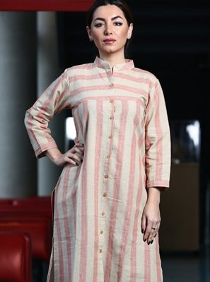 Printed Cotton Pink Party Wear Kurti