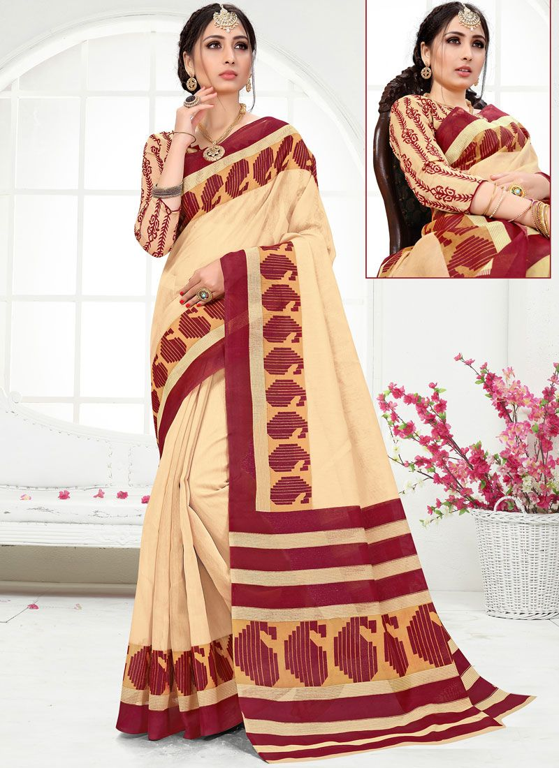 Printed Cotton Printed Saree in Cream and Maroon
