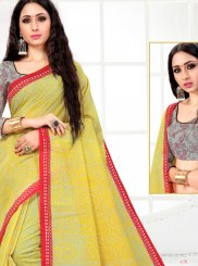 Printed Cotton Printed Saree in Yellow