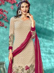 Printed Cream Faux Crepe Salwar Suit