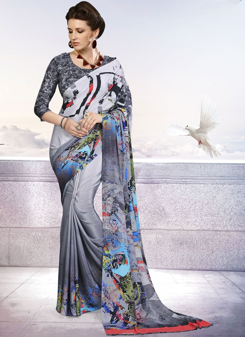 Printed Crepe Silk Grey Trendy Saree