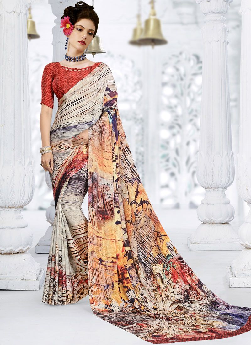 Printed Crepe Silk Multi Colour Trendy Saree