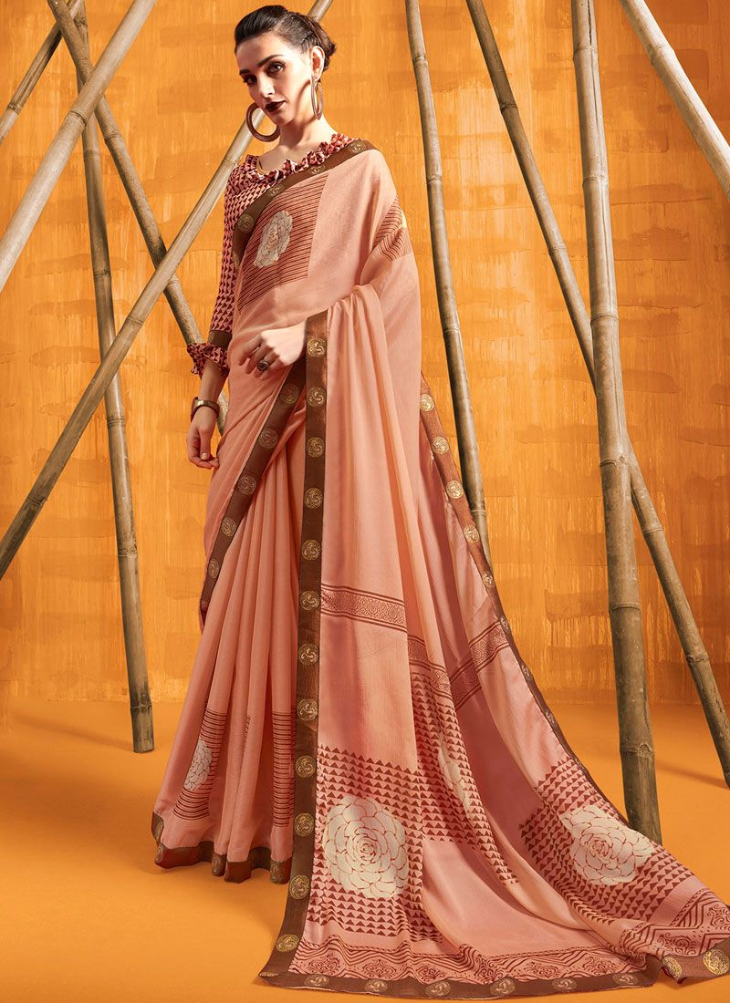 Printed Faux Chiffon Casual Saree in Beige